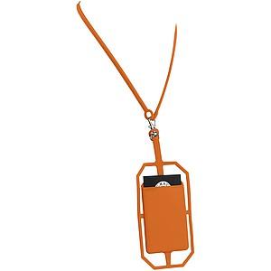 Silikonové pouzdro na kartu s RFID a lanyardem, oranžová