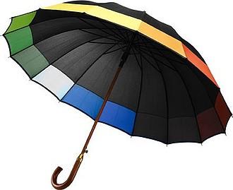 IMOTEP Černý automatický deštník s barevným zakončením - reklamní deštníky