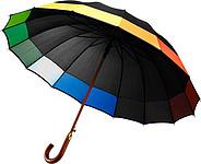 IMOTEP Černý automatický deštník s barevným zakončením