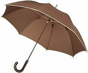 BOUDIN Značkový deštník Balmain s lemem, hnědá