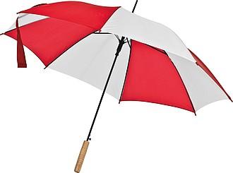 Deštník, automatické otvírání, dvoubarevný, bílá, červená