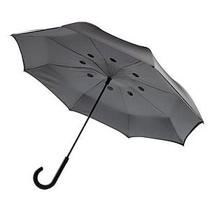 Deštník s automatickým zavíráním, oboustranné použití, šedý