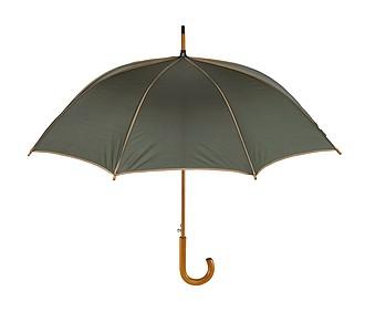VERMEER Automatický deštník, dřevená rukojeť, zelenobéžový. Pr.103cm