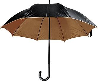 Deštník, s dvojitým nylonovým krytím, hnědý