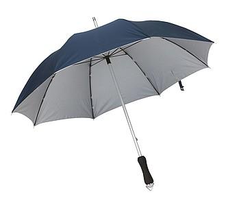 klasický deštník, nám. modř, stříbrná. Průměr 106 cm.
