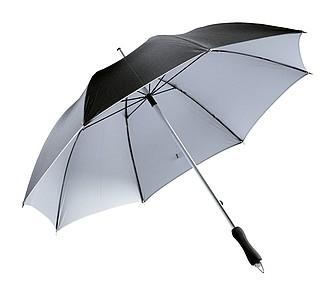 klasický deštník, černá, stříbrná. Průměr 106 cm.