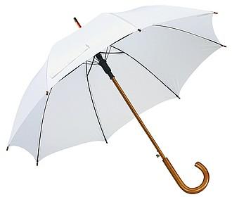 Automatický deštník, bílá, dřevěná rukojeť, pr. 103 cm