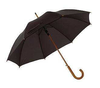 Automatický deštník, černá, dřevěná rukojeť, pr. 103 cm