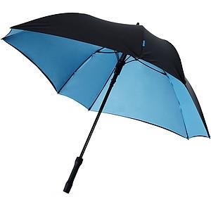 Čtvercový holový deštník, černá, modrý vnitřek