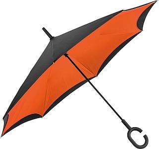 REVERSE Deštník, sklápějící se suchou stranou ven s rukojetí tvaru C, oranžová - reklamní deštníky