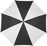 Klasický deštník s bílo barevnými panely, rozměry 130 x 105 cm, černý