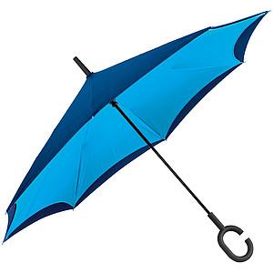 REVERSE Deštník, sklápějící se suchou stranou ven s rukojetí tvaru C, modrý - reklamní deštníky