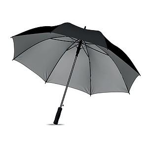 Polyesterový deštník s vnitřní stříbrnou vrstvou, automatické otvírání, černý