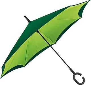 REVERSE Deštník, sklápějící se suchou stranou ven s rukojetí tvaru C, zelená