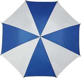 Klasický deštník s bílo barevnými panely, rozměry 130 x 105 cm, modrý - reklamní deštníky