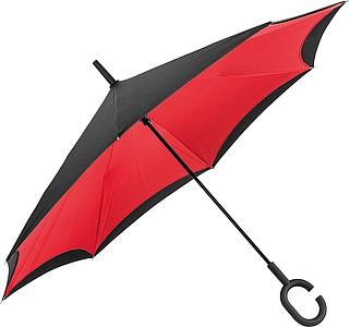 REVERSE Deštník, sklápějící se suchou stranou ven s rukojetí tvaru C, červená - reklamní deštníky