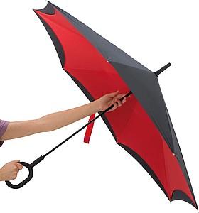 REVERSE Deštník, sklápějící se suchou stranou ven s rukojetí tvaru C, červená