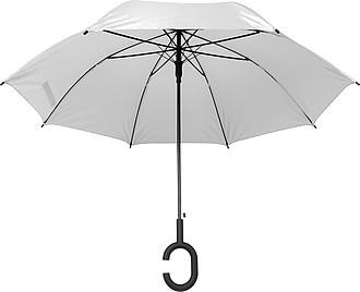 Klasický deštník, pr.103cm, s madlem na ruku, bílý