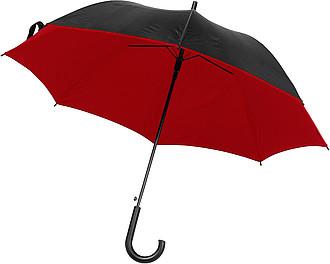DYCK Automatický deštník, pr.100cm, z vrchu černý, zespod červený