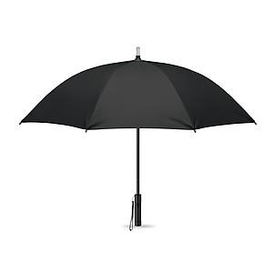 Manuální deštník, na špičce je LED světlo a v držadle je svítilna, pr. 93cm, černý