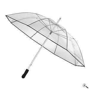Transparentní deštník se šedým lemem