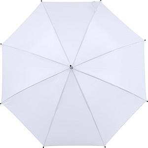 Automatický deštník vyrobený z pongee, bílý, parametry 102 x 85 cm