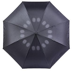 Středně velký automatický deštník, černý, parametry 100 x 85 cm