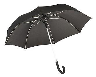 TELAMON Automatický holový deštník s pogumovanou rukojetí, černá/bílá - reklamní deštníky