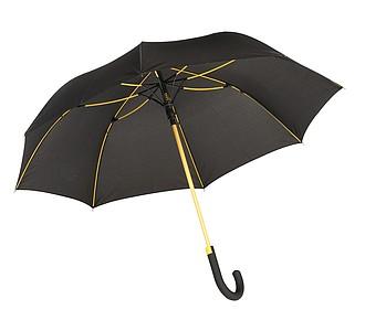 TELAMON Automatický holový deštník s pogumovanou rukojetí, černá/žlutá - reklamní deštníky