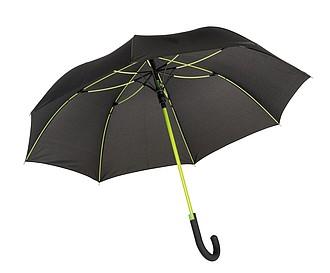 TELAMON Automatický holový deštník s pogumovanou rukojetí, černá/zelená - reklamní deštníky