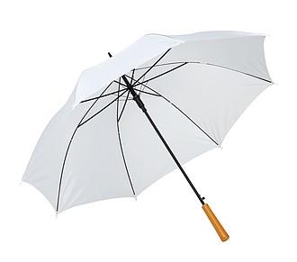 Automatický holový deštník s rukojetí v dřevěném vzhledu, pr. 103cm, bílý