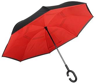 Holový deštník, automatický s opačným otvíráním, černo červený