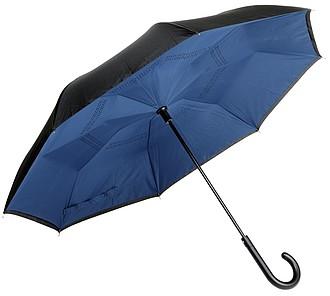 Automatický deštník s opačným otvíráním, černo modrý