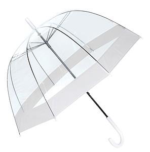 Transparentní deštník s barevným okrajem, O83 cm, bílá