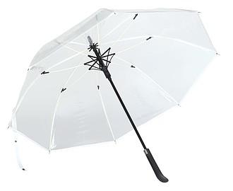 Průhledný deštník s barevným žebrováním, O103 cm, bílá