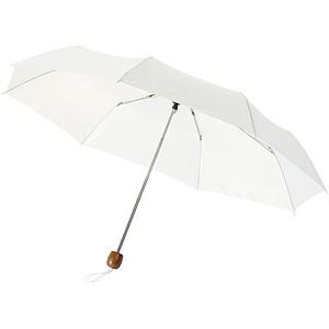 Skládací deštník s dřevěnou rukojetí, průměr 97cm, bílá