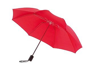 deštník skládací červený. Průměr 85 cm.