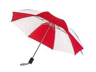 deštník skládací červeno bílý. Průměr 85 cm.