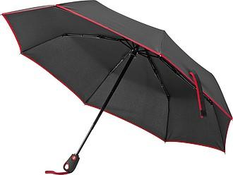 Skládací automatický deštník s červeným lemem