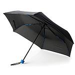 """Černý 21"""" skládací deštník ze sklolaminátu s barevnými doplňky, královská modrá - reklamní deštníky"""