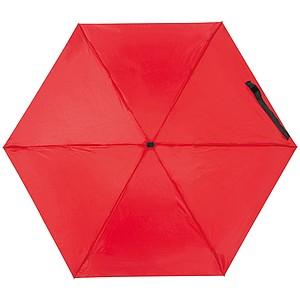 Mini skládací manuální deštník, pr. 92cm, v pouzdře, červený