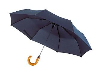 Skládací automatický deštní se zahnutou rukojetí, modrý - reklamní deštníky