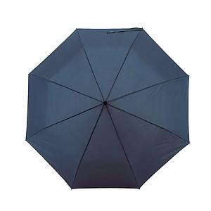 Skládací automatický deštní se zahnutou rukojetí, modrý