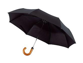 Skládací automatický deštní se zahnutou rukojetí, černý