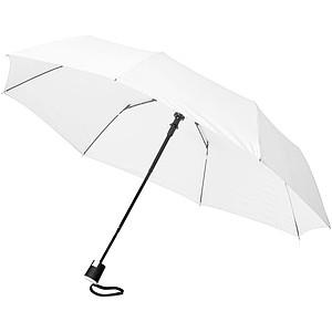 Skládací třísekční deštník s potahem z PE pongee, bílá