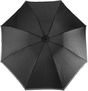 BERTÍK Automatickký OC skládací deštník s reflexním pruhem, černá - reklamní deštníky