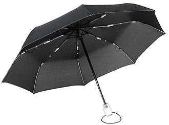 Skládací deštník, automatické otvírání i zavírání, černý s bílou rukojetí