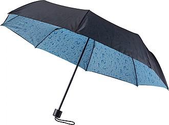 Černý skládací deštník s potiskem zevnitř, kapky vody