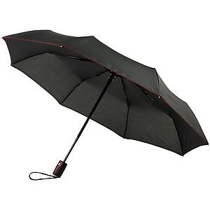 Černý skládací deštník s barevným kontrastem, průměr 96 cm černá/červená