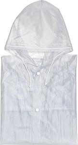 Pláštěnka s kapucí, velikost XL, PVC, transparentní bílá